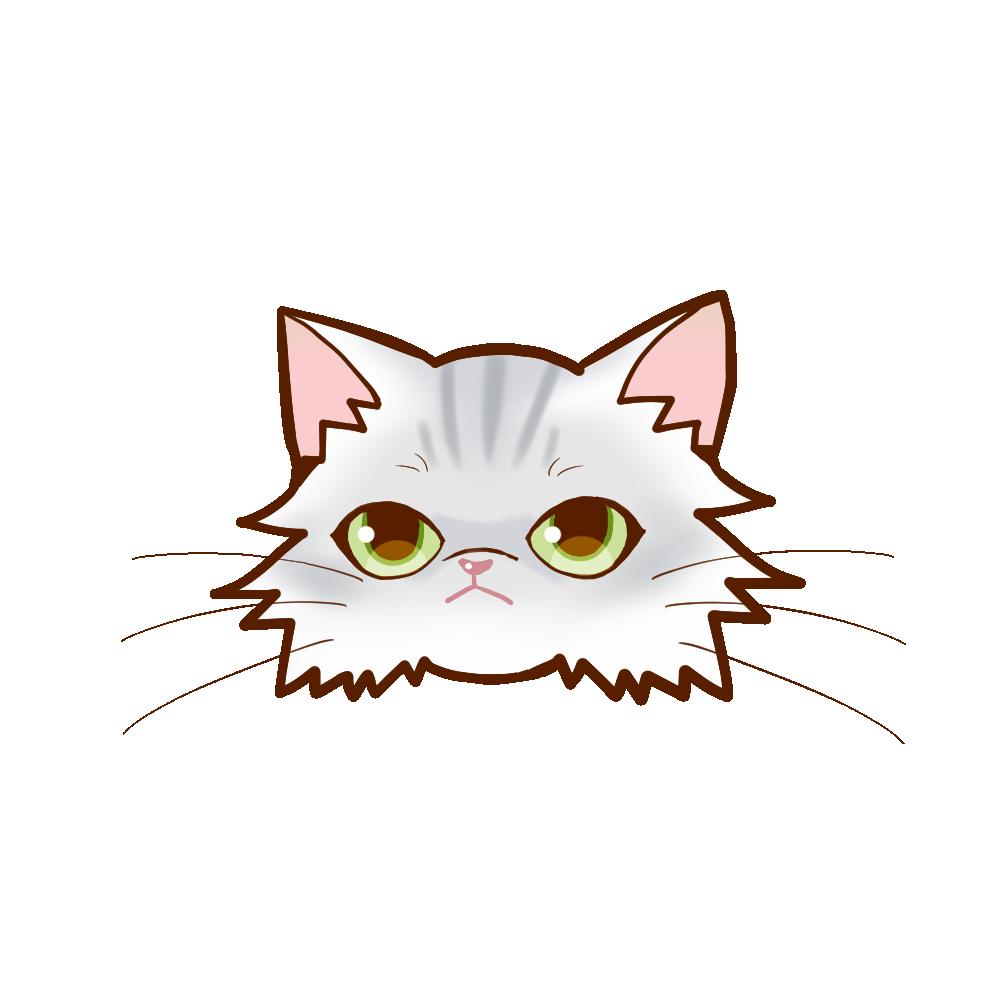 猫イラストまんじゅうペルシャチンチラシルバー