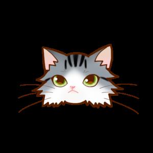 猫イラストまんじゅうノルシルバータビー&ホワイト