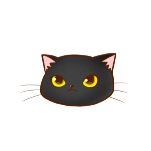 猫イラストまんじゅう顔A黒-manjyu cat face black-