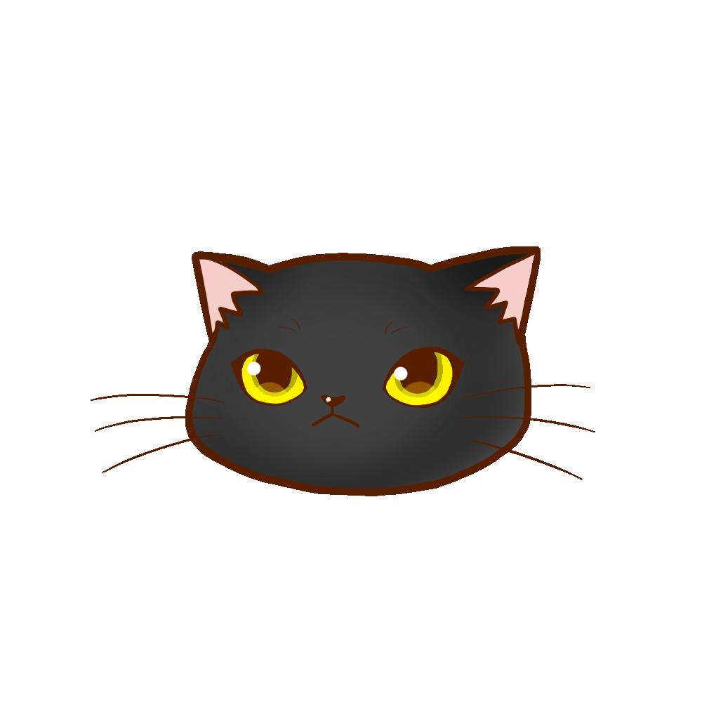 まんじゅう猫顔a 黒 猫画工房