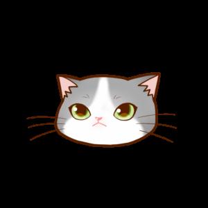 猫イラストまんじゅう顔Aグレー白