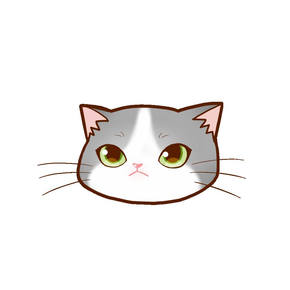 猫イラストまんじゅうグレー白