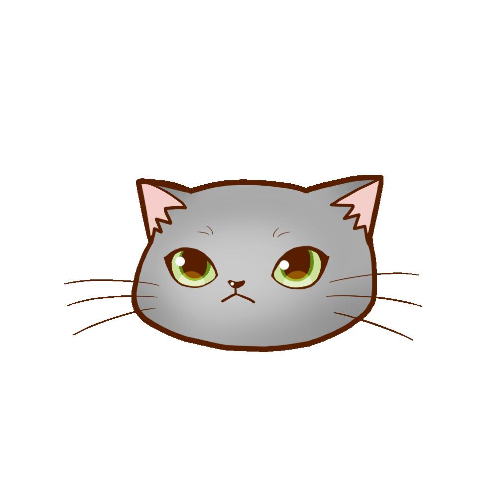 猫イラストまんじゅうグレー