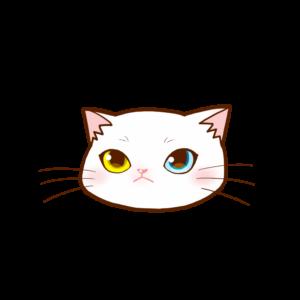 猫イラストまんじゅう顔A白