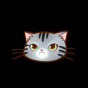 猫イラストまんじゅう顔Aアメショシルバータビー