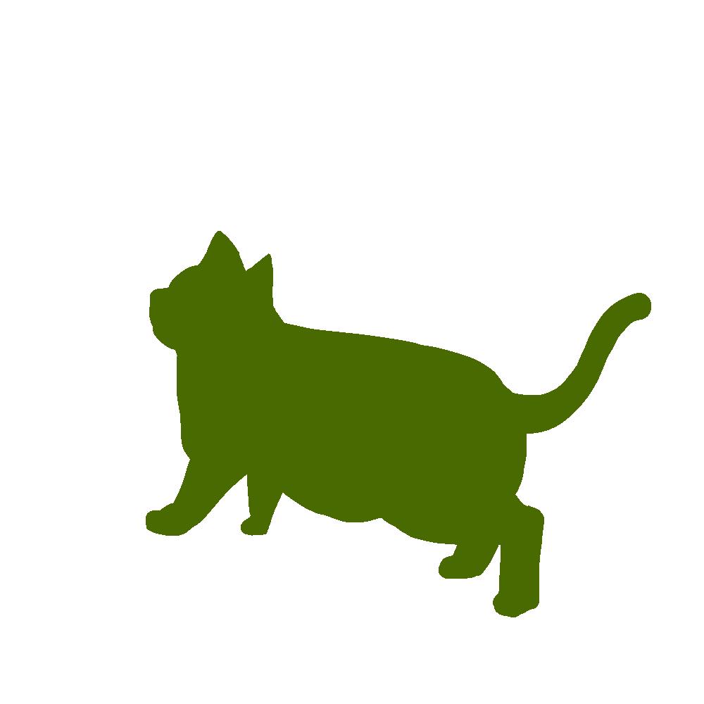 全身シルエット歩く猫4グリーン