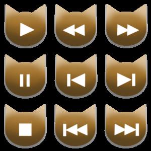 アイコンボタンセット1アンバー-cat icon button amber-