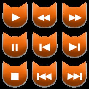 アイコンボタンセット1オレンジ-cat icon button orange-