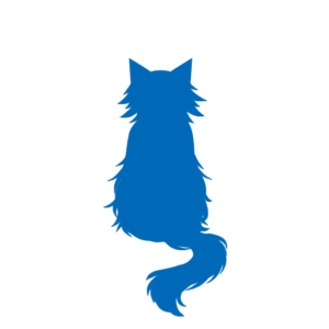 全身シルエットおすわり猫3ブルー