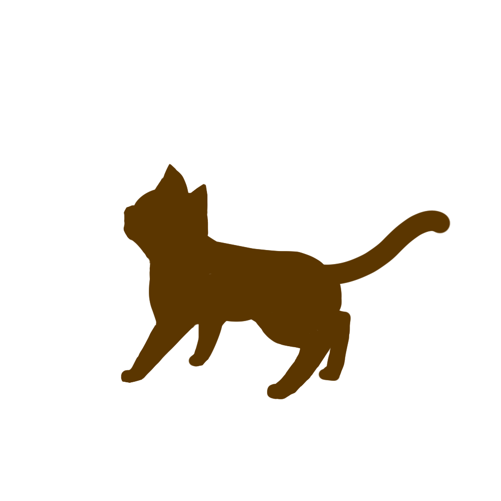 全身シルエット歩く猫1ブラウン
