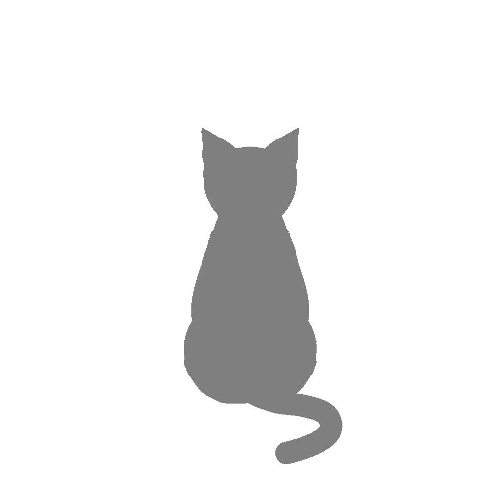 全身シルエットおすわり猫2グレー