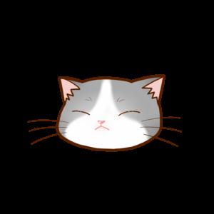 猫イラストまんじゅうグレー白B
