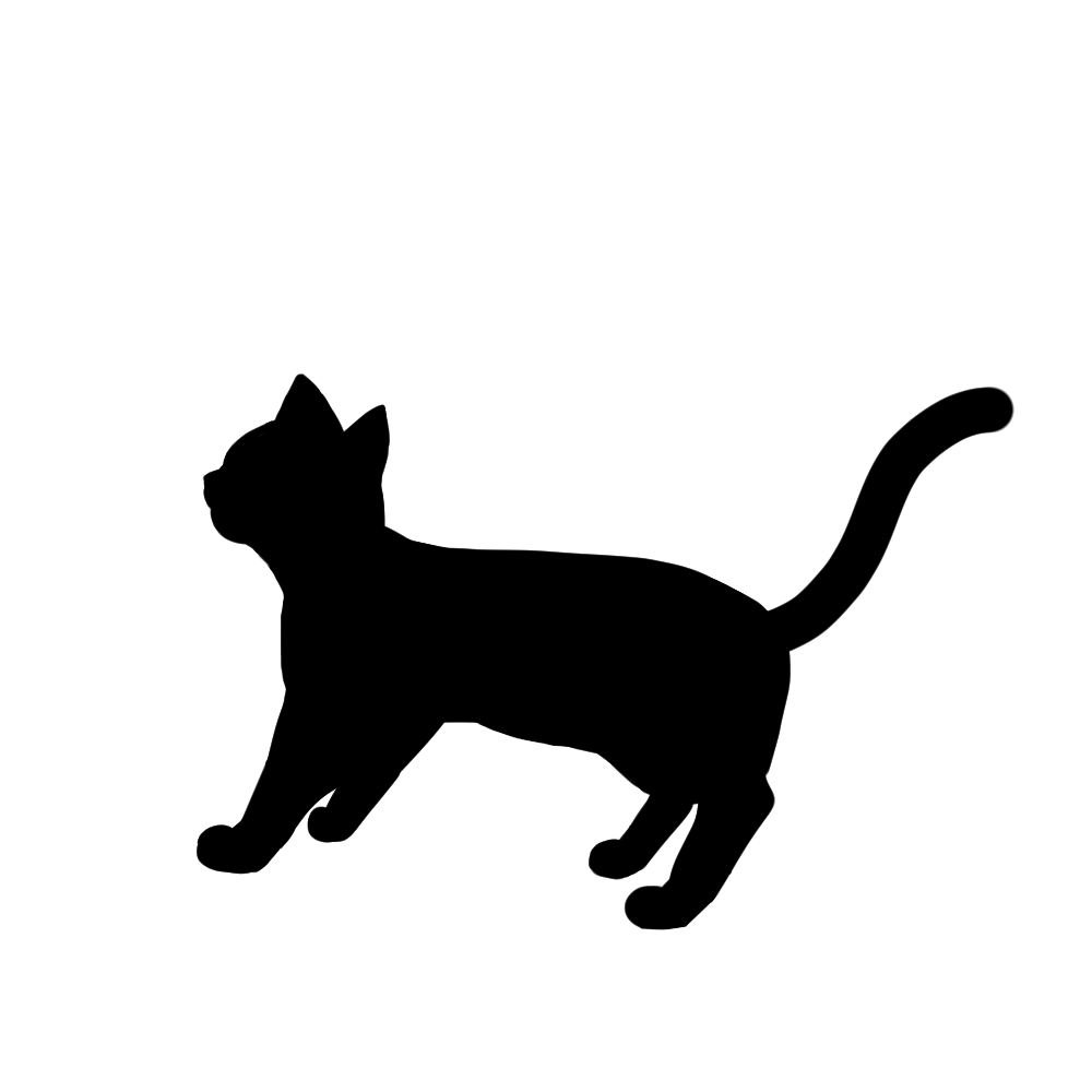 全身シルエット歩く猫2ブラック