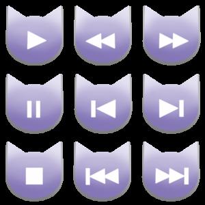 アイコンボタンセット1パステルパープル-cat icon button pastel purple-