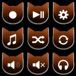 アイコンボタンセット2ブラウン
