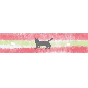 ねこ柄マスキングテープ風ラインサンドイッチカラーピンク×ライトグリーン300