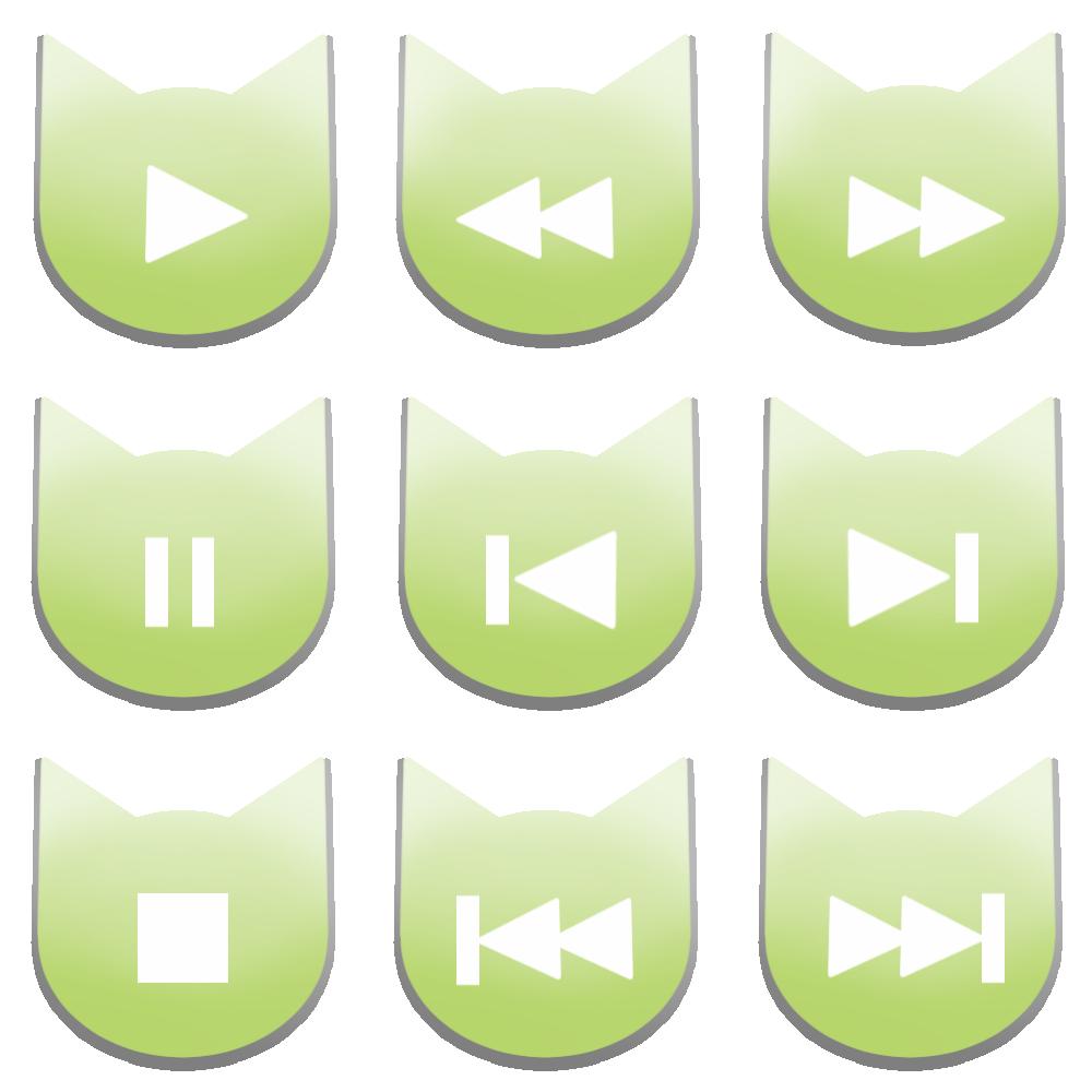 アイコンボタンセット1パステルグリーン