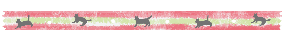 ねこ柄マスキングテープ風ラインサンドイッチカラーピンク×ライトグリーン-Cat Pattern Masking Tape Wind Line Material pink lightgreen-