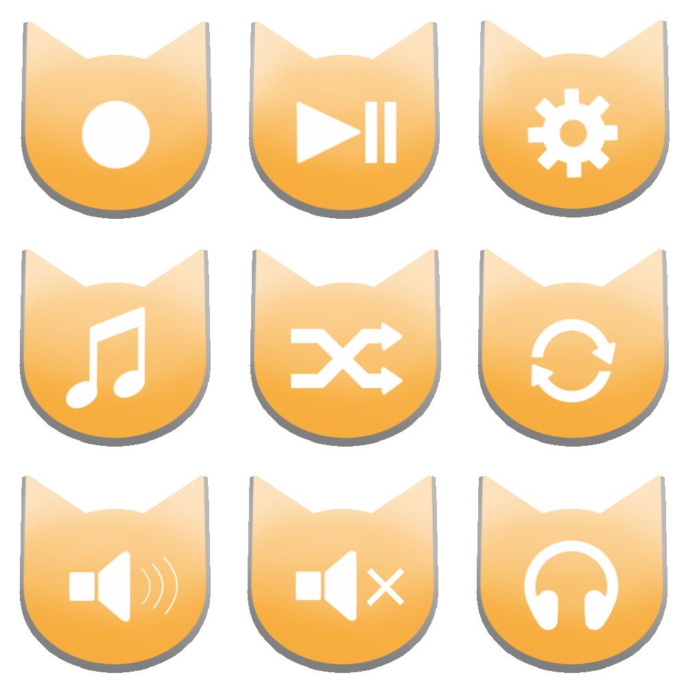 アイコンボタンセット2パステルオレンジ