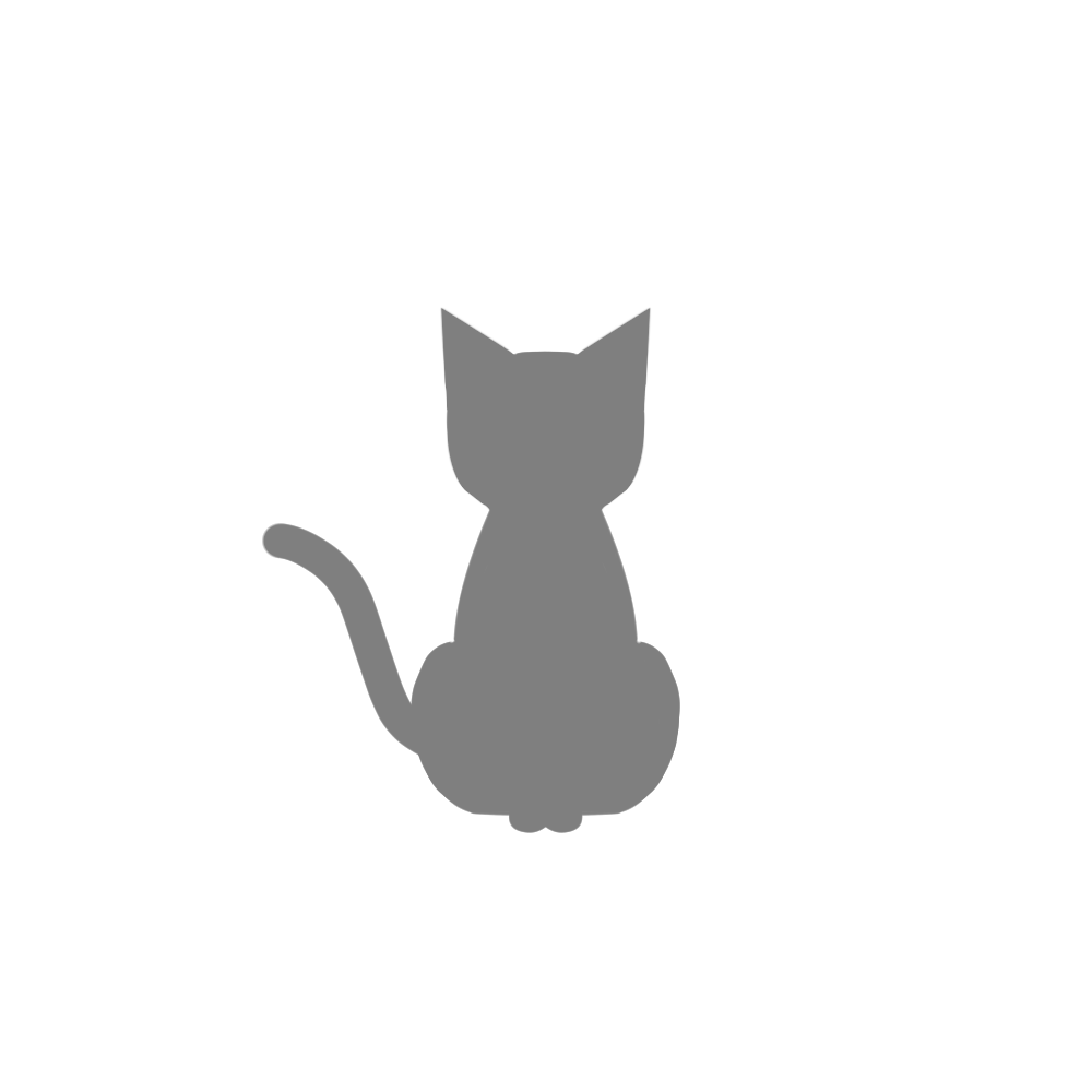 全身シルエットおすわり猫1グレー