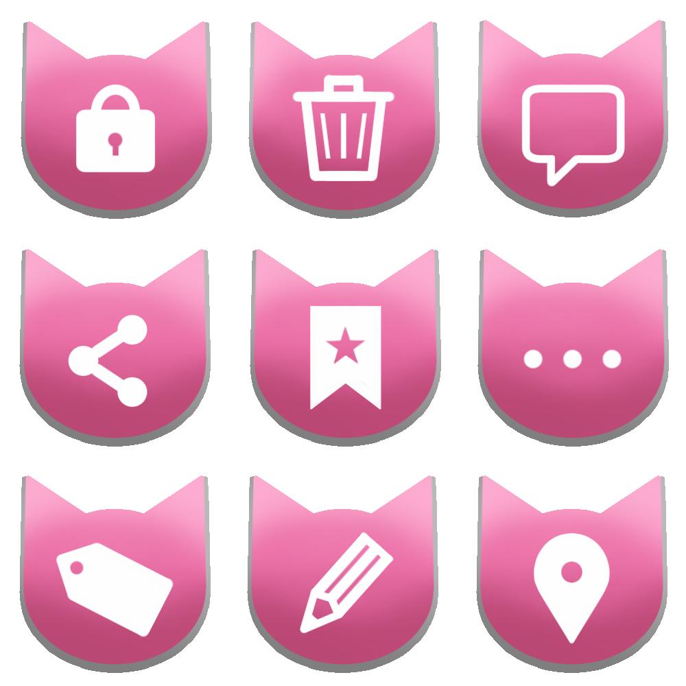 アイコンボタンセット4ピンク