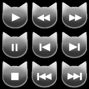 アイコンボタンセット1グレー-cat icon button gray-