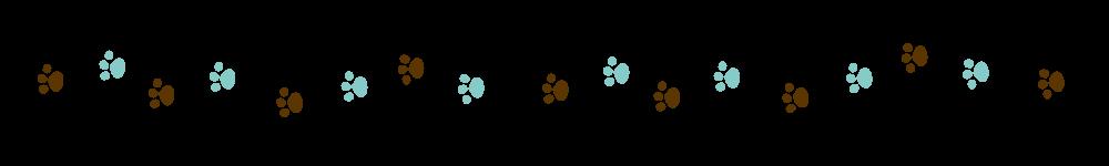 猫の足跡ラインブラウン×ブルー-Cat footprint Line material brown blue-