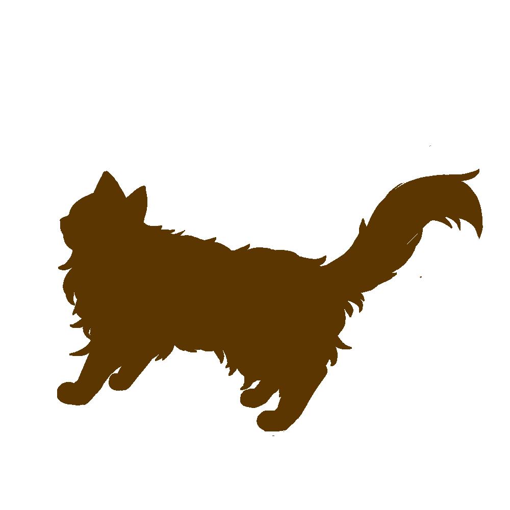 全身シルエット歩く猫3ブラウン