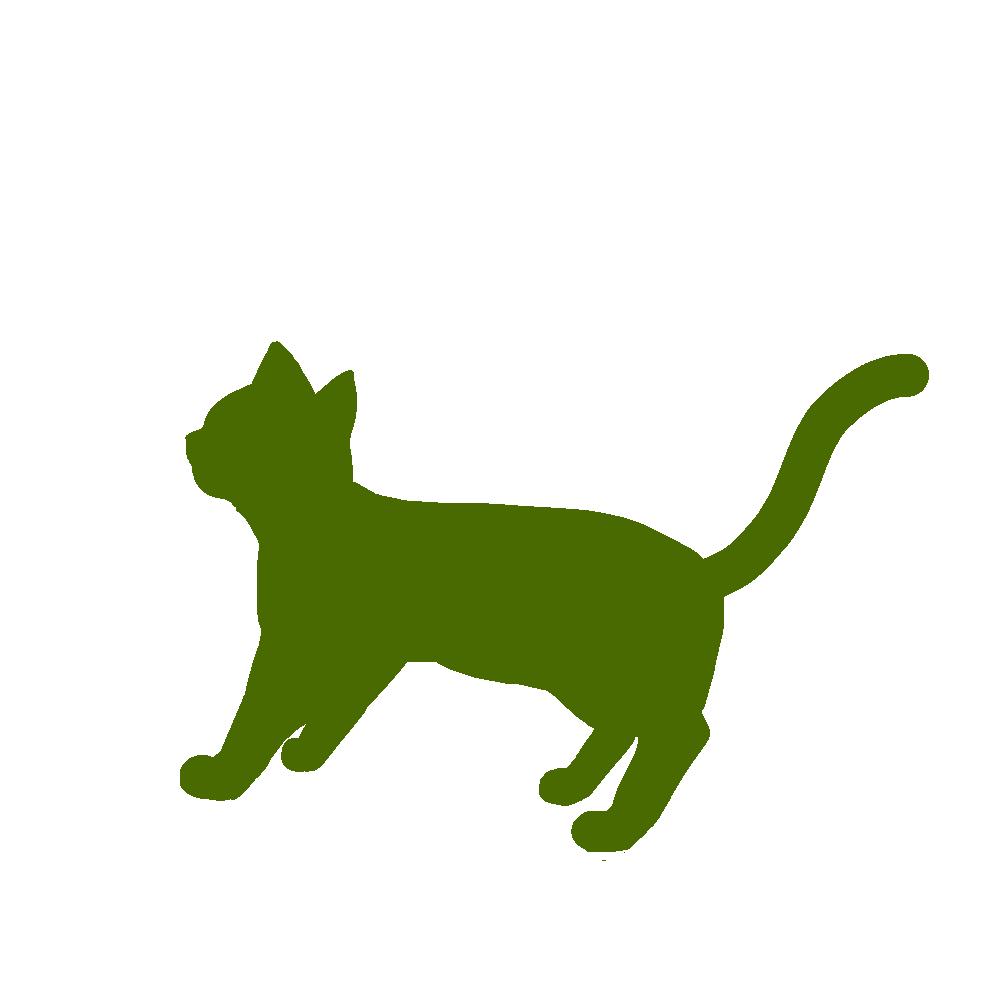 全身シルエット歩く猫2グリーン