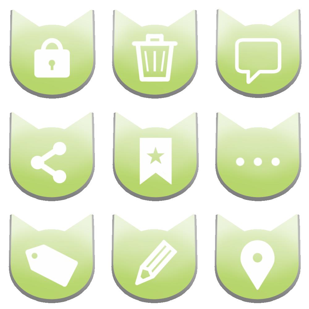 アイコンボタンセット4パステルグリーン