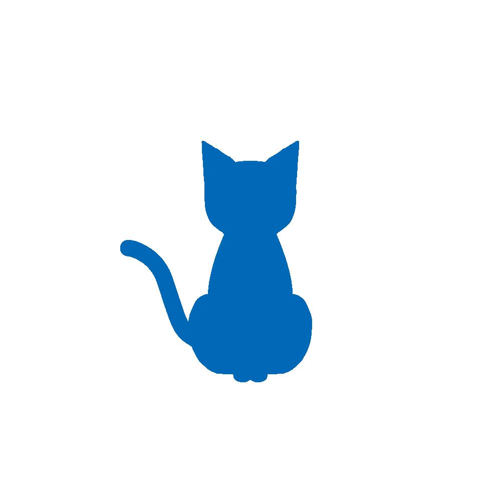 全身シルエットおすわり猫1ブルー