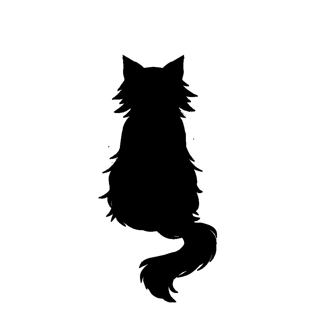 全身シルエットおすわり猫3ブラック