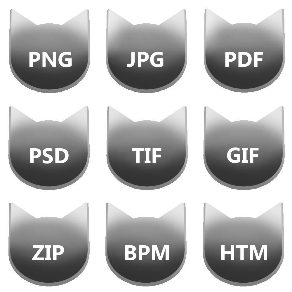 アイコンボタンセット6グレー
