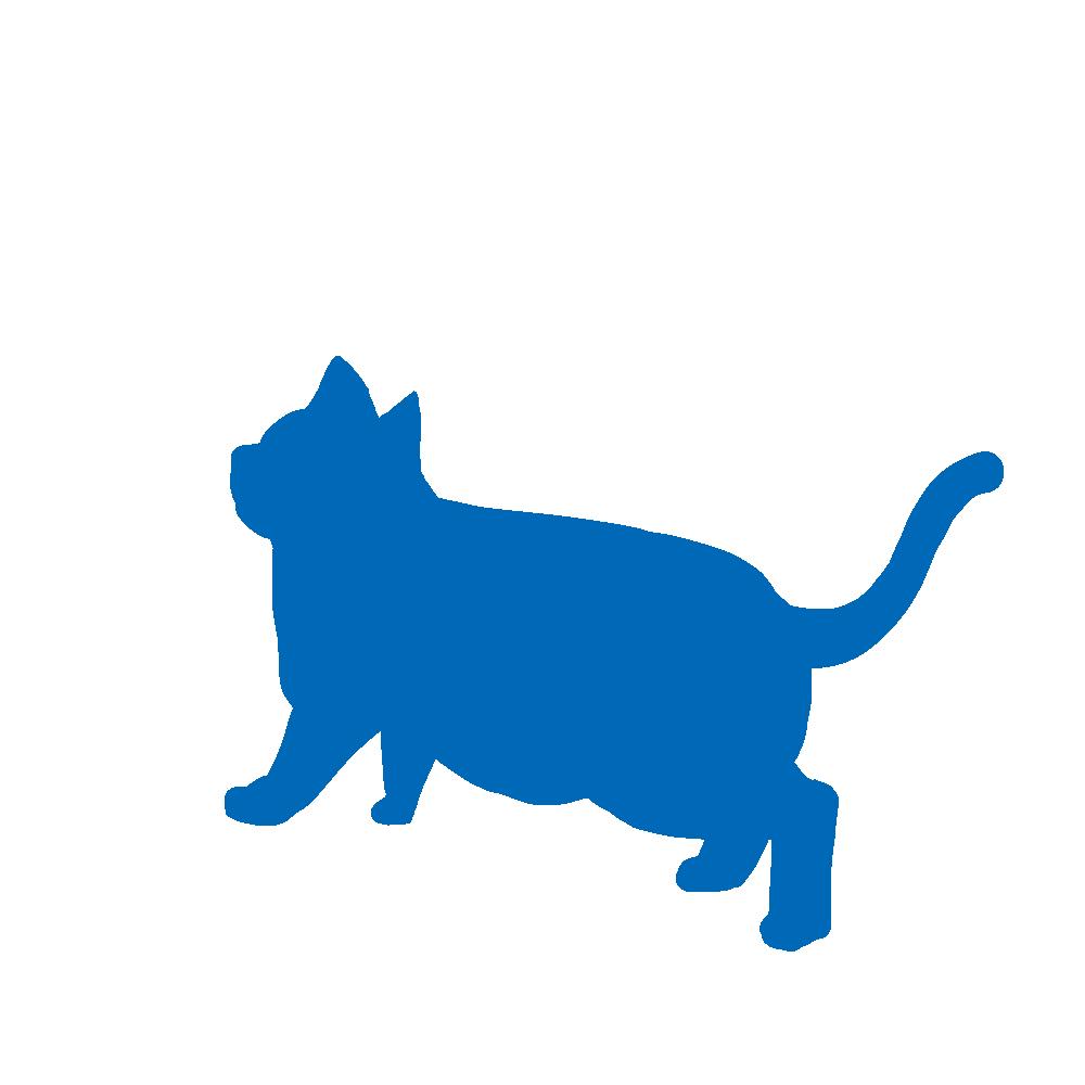 全身シルエット歩く猫4ブルー
