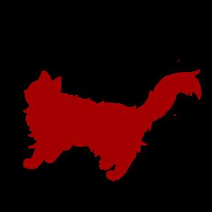 全身シルエット歩く猫3レッド