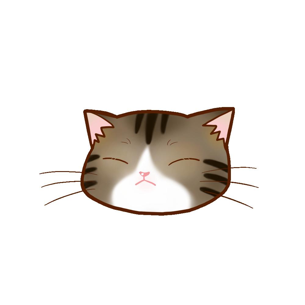 猫イラストまんじゅうキジ白B