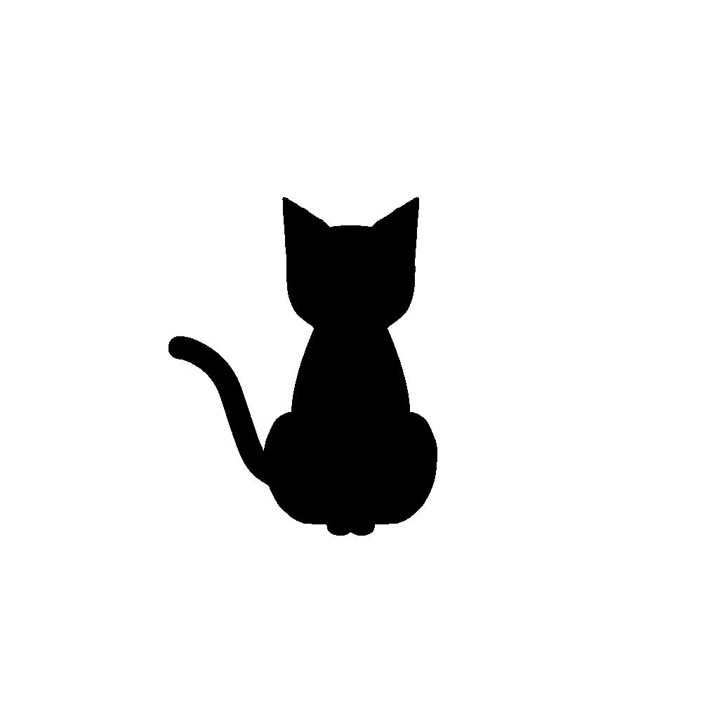 全身シルエットおすわり猫1ブラック