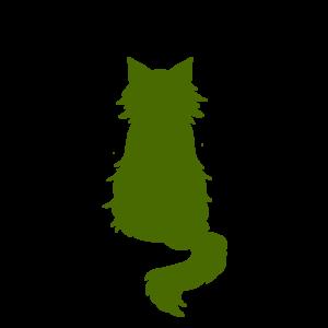 全身シルエットおすわり猫3グリーン