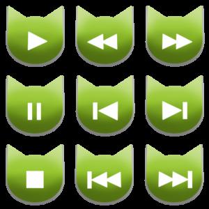 アイコンボタンセット1グリーン-cat icon button green-