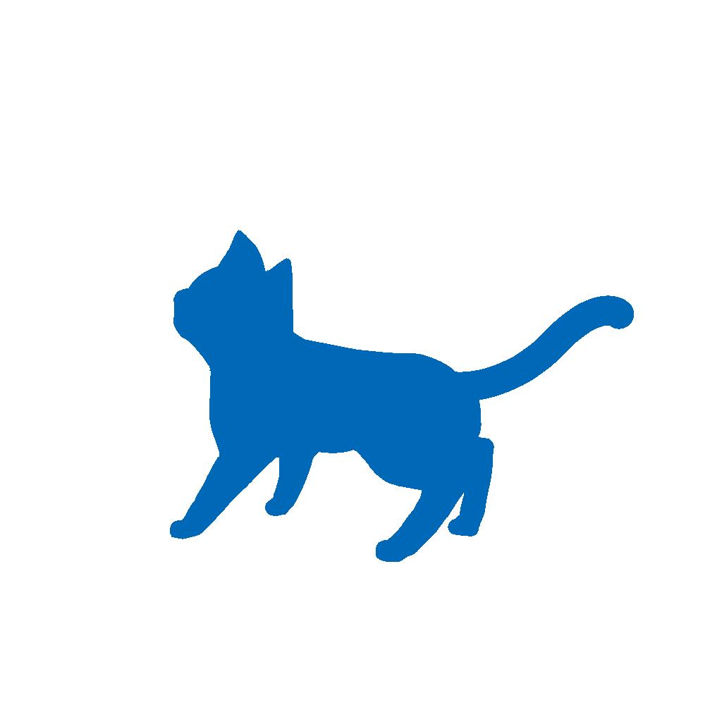 全身シルエット歩く猫1ブルー