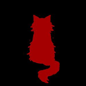 全身シルエットおすわり猫3レッド