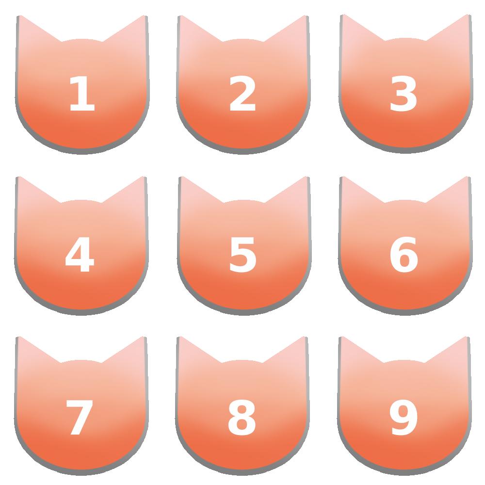 アイコンボタンセット7パステルレッド