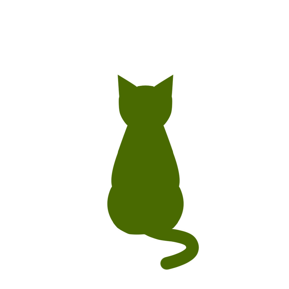 全身シルエットおすわり猫2グリーン