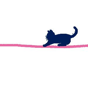 ハートのラフな線とじゃれる猫のラインピンク300