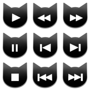 アイコンボタンセット1ブラック-cat icon button black-