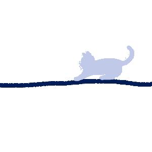 毛糸とじゃれる猫のラインブルー300