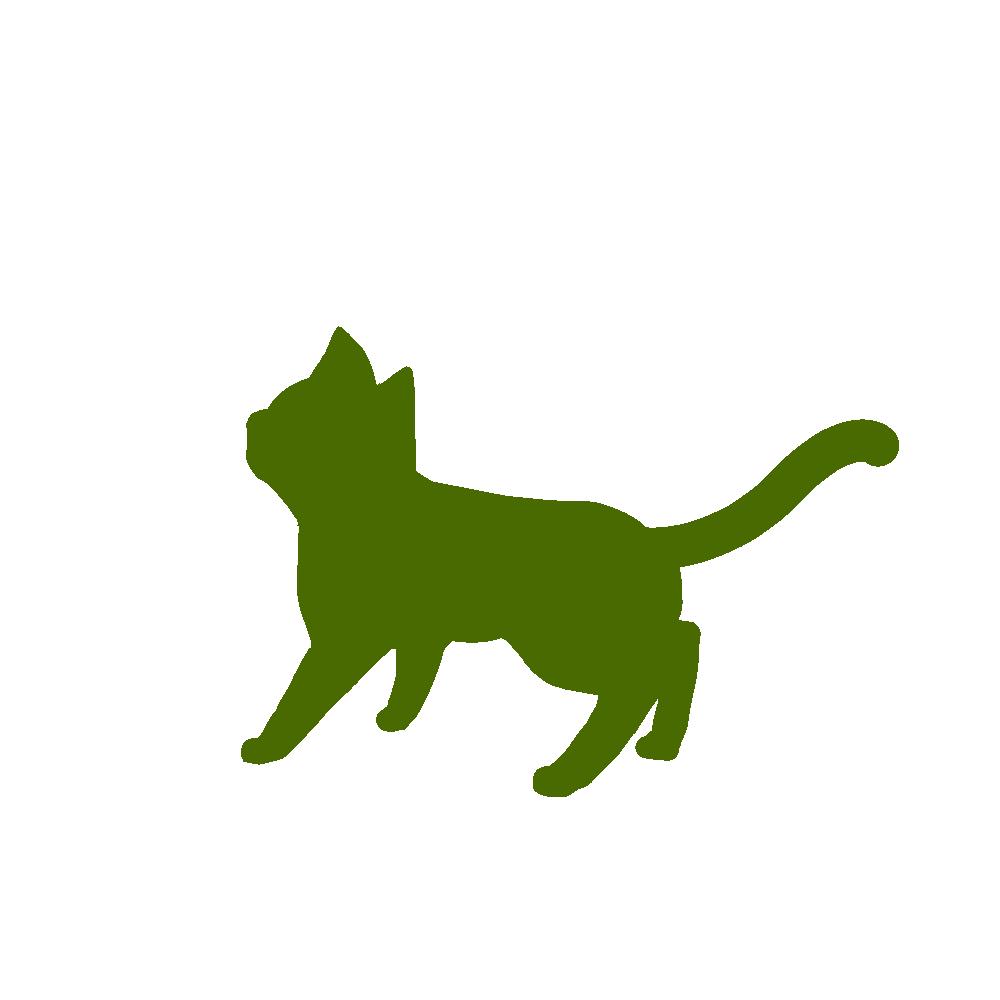 全身シルエット歩く猫1グリーン