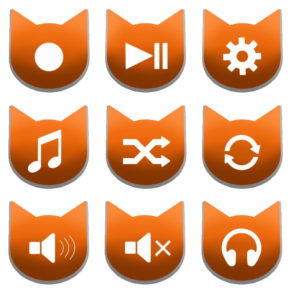 アイコンボタンセット2オレンジ
