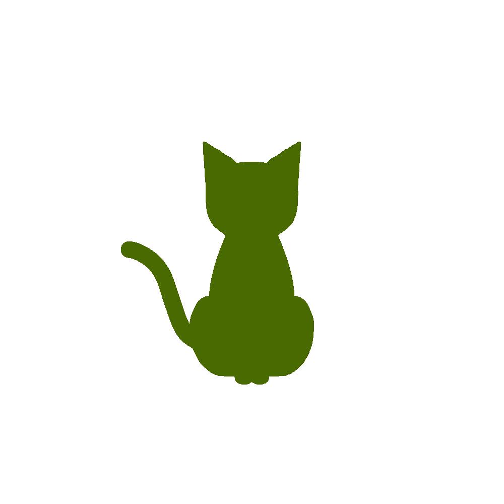 全身シルエットおすわり猫1グリーン