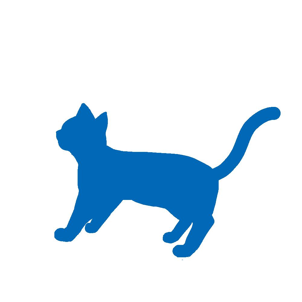 全身シルエット歩く猫2ブルー